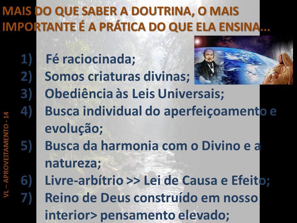 MAIS DO QUE SABER A DOUTRINA, O MAIS IMPORTANTE É A PRÁTICA DO QUE ELA ENSINA... 1) Fé raciocinada; 2)Somos criaturas divinas; 3)Obediência às Leis Un