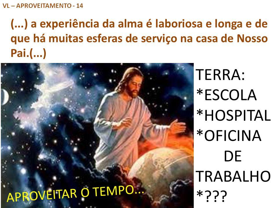 VL – APROVEITAMENTO - 14 (...) a experiência da alma é laboriosa e longa e de que há muitas esferas de serviço na casa de Nosso Pai.(...) TERRA: *ESCO