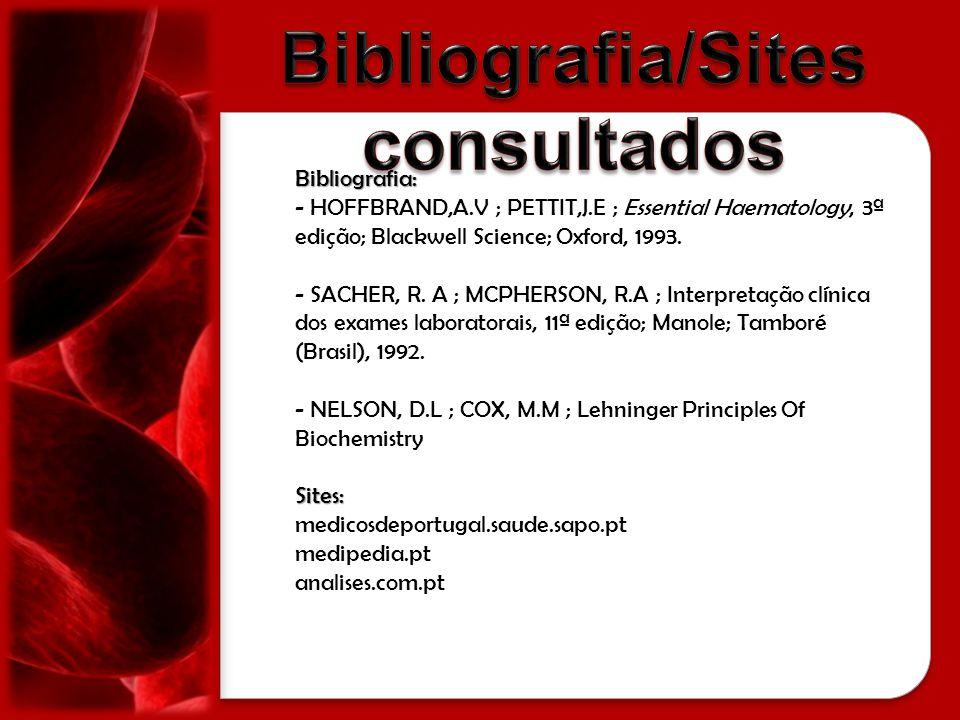medicosdeportugal.saude.sapo.pt medipedia.pt analises.com.pt/index.php/coagulacao Bibliografia: - HOFFBRAND,A.V ; PETTIT,J.E ; Essential Haematology,