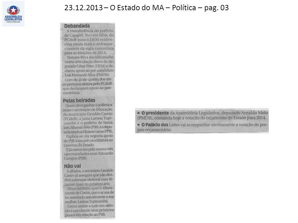 21.12.2013 – O Imparcial – Política – pag. 03