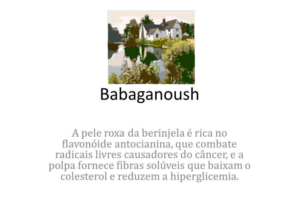 Babaganoush A pele roxa da berinjela é rica no flavonóide antocianina, que combate radicais livres causadores do câncer, e a polpa fornece fibras solúveis que baixam o colesterol e reduzem a hiperglicemia.