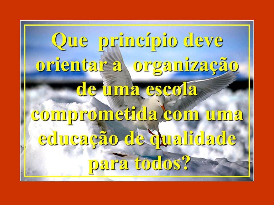 Que princípio deve orientar a organização de uma escola comprometida com uma educação de qualidade para todos.
