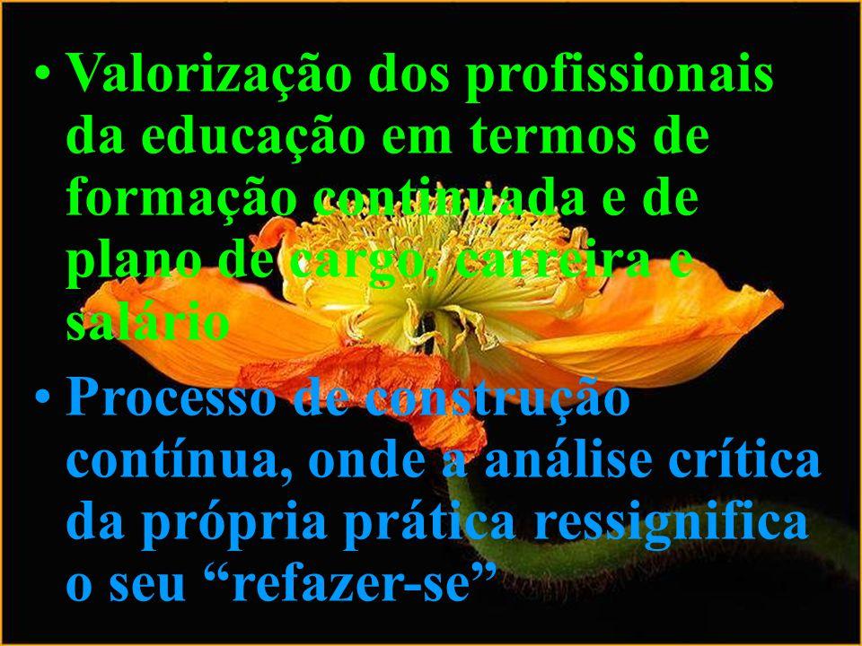 Valorização dos profissionais da educação em termos de formação continuada e de plano de cargo, carreira e salário Processo de construção contínua, on
