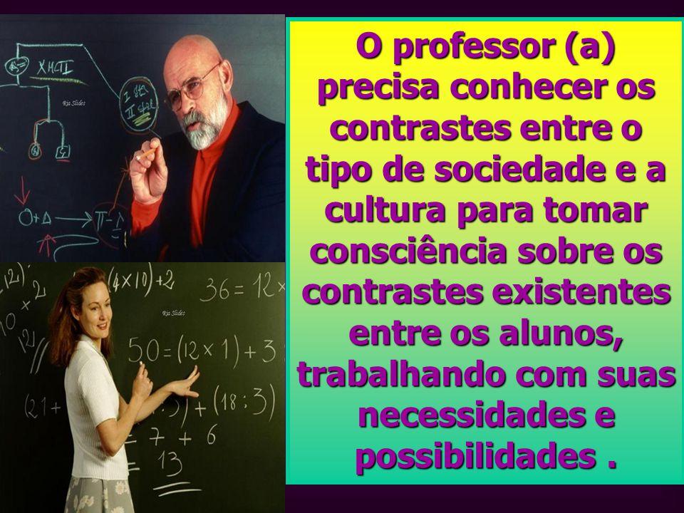 O professor (a) precisa conhecer os contrastes entre o tipo de sociedade e a cultura para tomar consciência sobre os contrastes existentes entre os al
