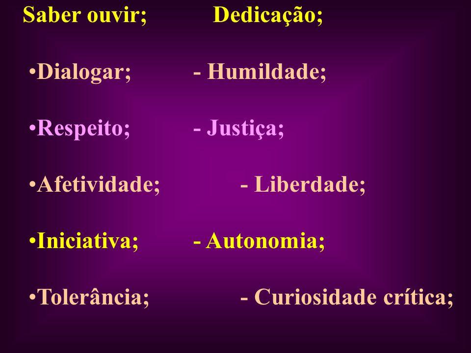Saber ouvir; Dedicação; Dialogar;- Humildade; Respeito;- Justiça; Afetividade;- Liberdade; Iniciativa;- Autonomia; Tolerância;- Curiosidade crítica;