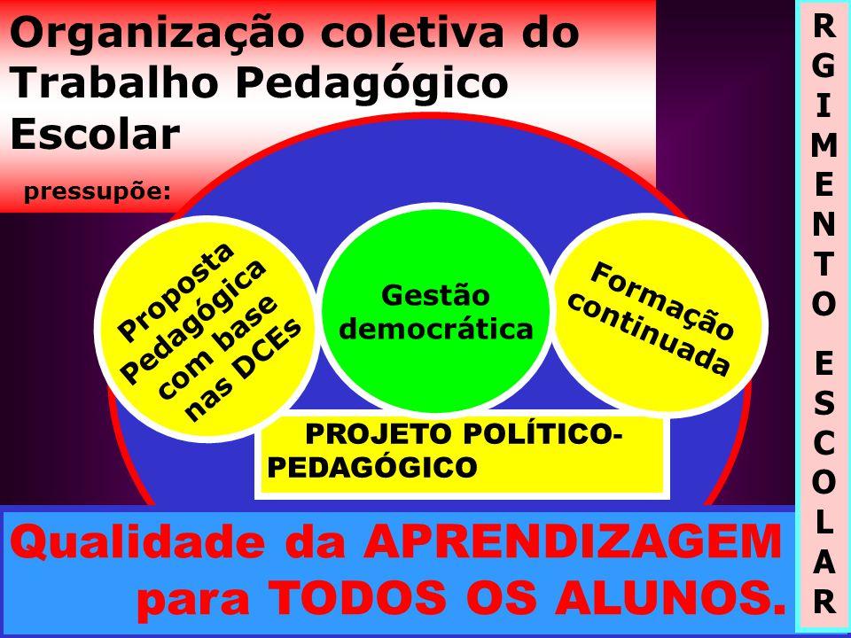 Organização coletiva do Trabalho Pedagógico Escolar pressupõe: PROJETO POLÍTICO- PEDAGÓGICO P r o p o s t a P e d a g ó g i c a c o m b a s e n a s D C E s Formação continuada Qualidade da APRENDIZAGEM para TODOS OS ALUNOS.