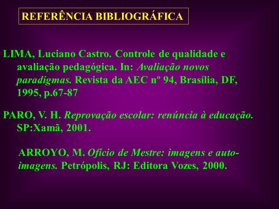 REFERÊNCIA BIBLIOGRÁFICA LIMA, Luciano Castro. Controle de qualidade e avaliação pedagógica. In: Avaliação novos paradigmas. Revista da AEC nº 94, Bra