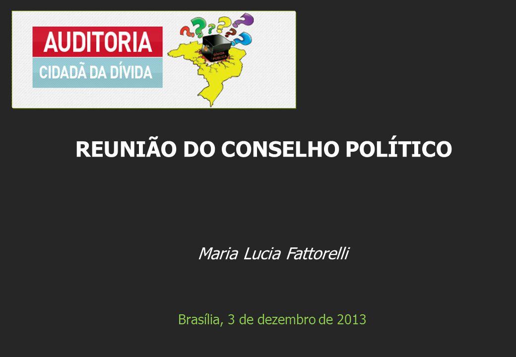 Maria Lucia Fattorelli Brasília, 3 de dezembro de 2013 REUNIÃO DO CONSELHO POLÍTICO