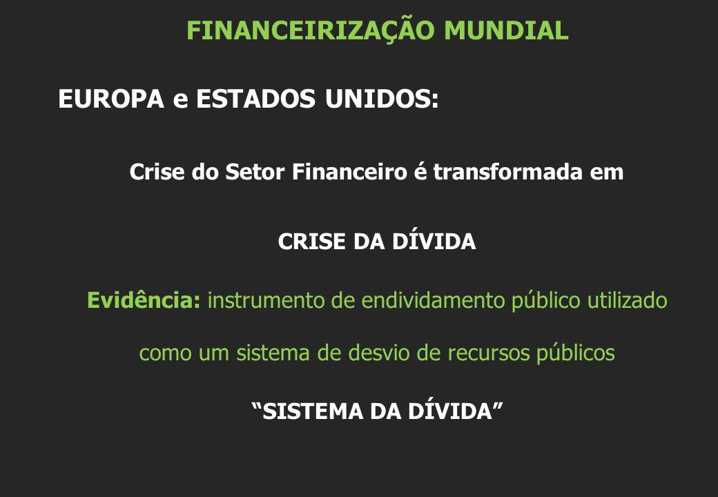 FINANCEIRIZAÇÃO MUNDIAL EUROPA e ESTADOS UNIDOS: Crise do Setor Financeiro é transformada em CRISE DA DÍVIDA Evidência: instrumento de endividamento público utilizado como um sistema de desvio de recursos públicos SISTEMA DA DÍVIDA