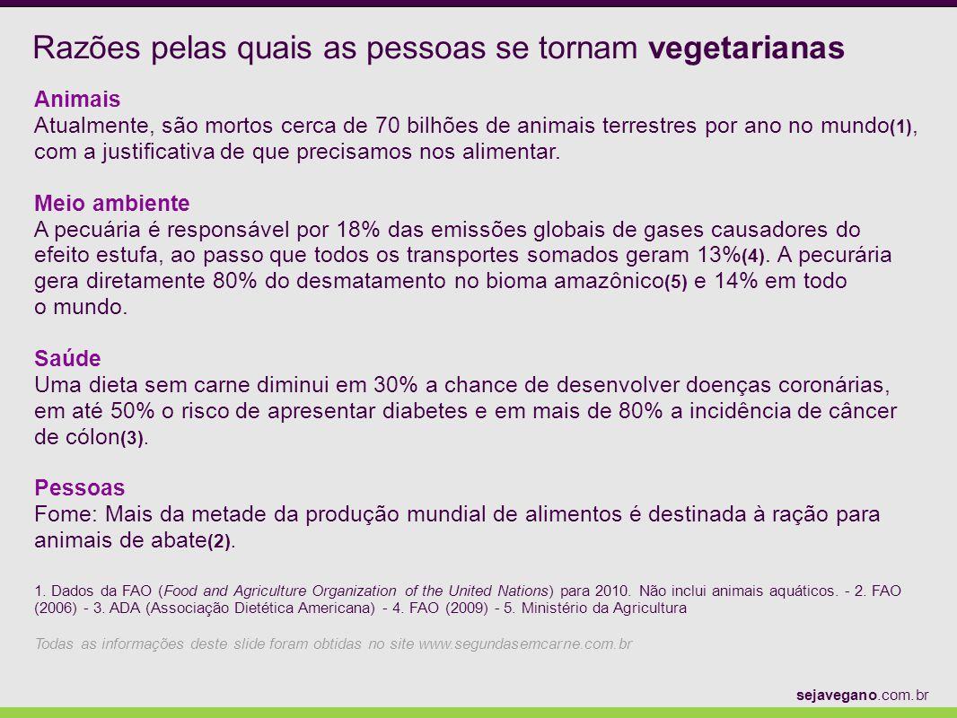 Razões pelas quais as pessoas se tornam vegetarianas Animais Atualmente, são mortos cerca de 70 bilhões de animais terrestres por ano no mundo (1), co