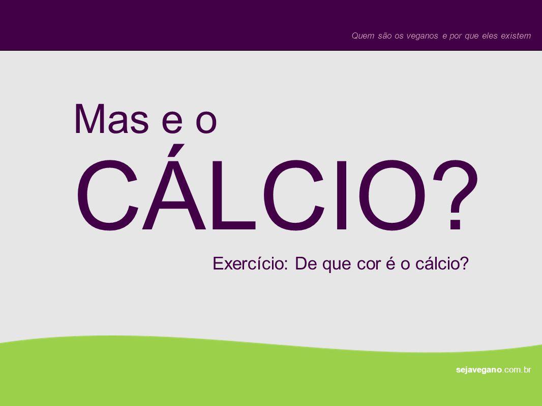 Mas e o CÁLCIO? sejavegano.com.br Quem são os veganos e por que eles existem Exercício: De que cor é o cálcio?