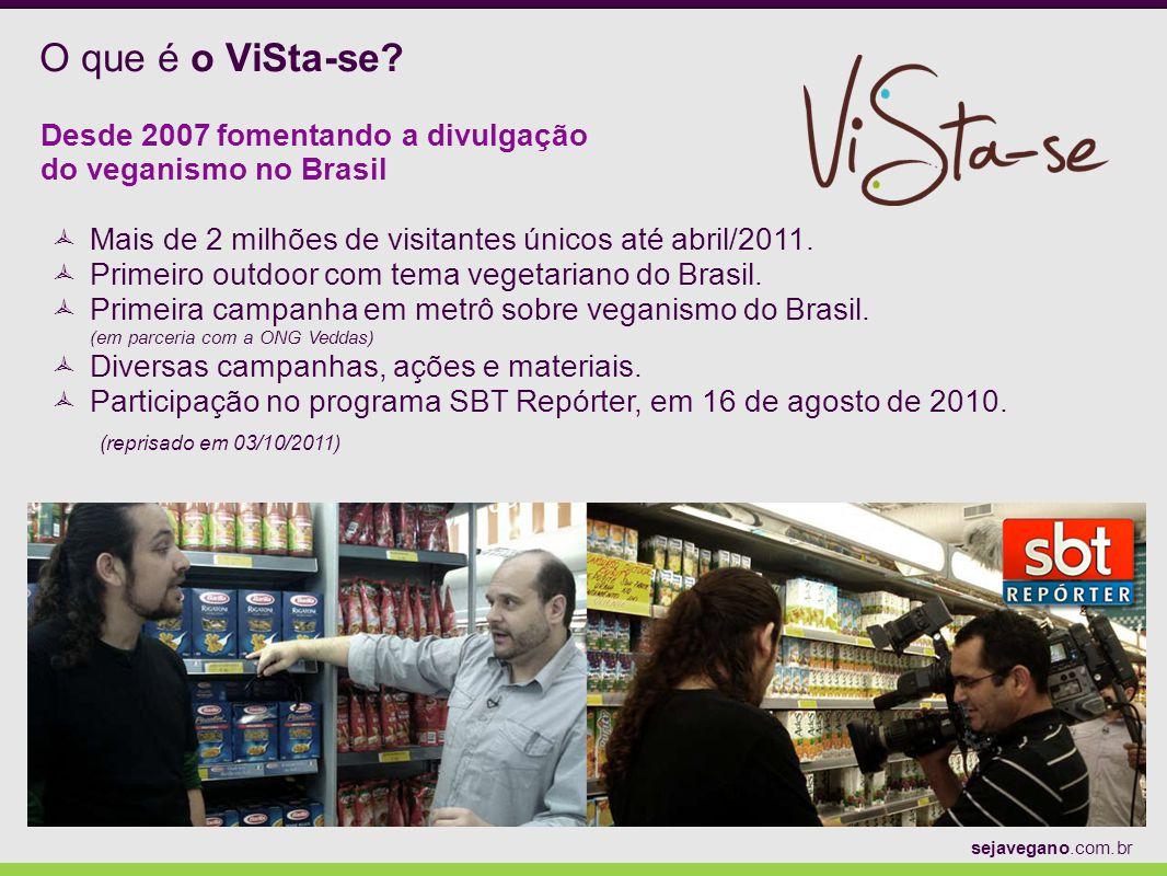 O que é o ViSta-se? Desde 2007 fomentando a divulgação do veganismo no Brasil Mais de 2 milhões de visitantes únicos até abril/2011. Primeiro outdoor