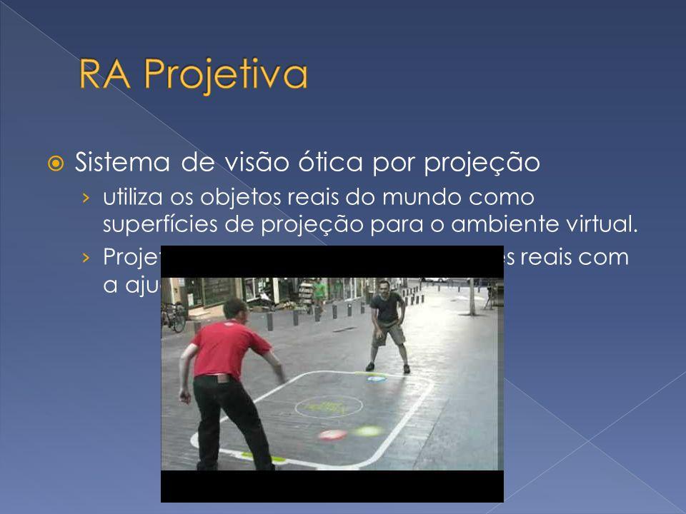 Sistema de visão ótica por projeção utiliza os objetos reais do mundo como superfícies de projeção para o ambiente virtual. Projeta objetos virtuais e