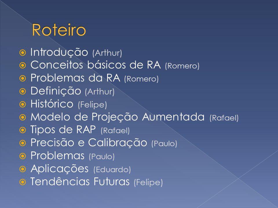 Introdução (Arthur) Conceitos básicos de RA (Romero) Problemas da RA (Romero) Definição (Arthur) Histórico (Felipe) Modelo de Projeção Aumentada (Rafa