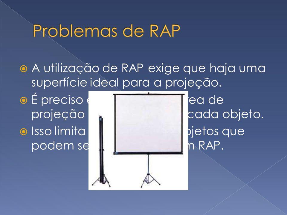 A utilização de RAP exige que haja uma superfície ideal para a projeção. É preciso encontrar uma área de projeção adequada para cada objeto. Isso limi