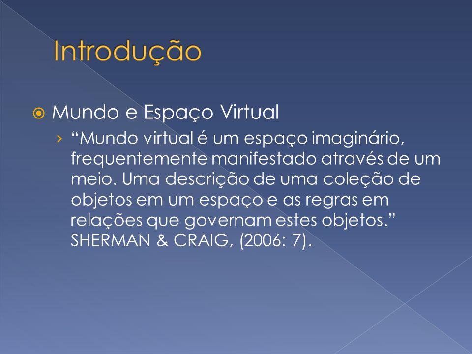 Mundo e Espaço Virtual Mundo virtual é um espaço imaginário, frequentemente manifestado através de um meio. Uma descrição de uma coleção de objetos em
