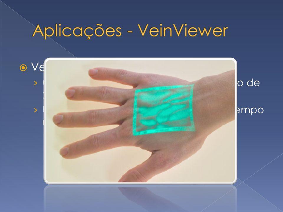 VeinViewer Considerada a melhor invenção do ano de 2004 pela revista Time Magazine Utiliza-se do projetor para mostrar em tempo real a vasculatura do