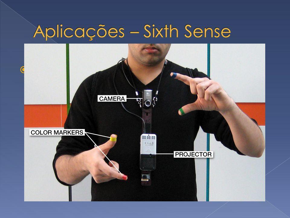 Sixth Sense Projeto do MIT Amplia o mundo físico ao nosso redor Gestos naturais para interagir com informação digital SixthSense venceu o 2009 INVENTI