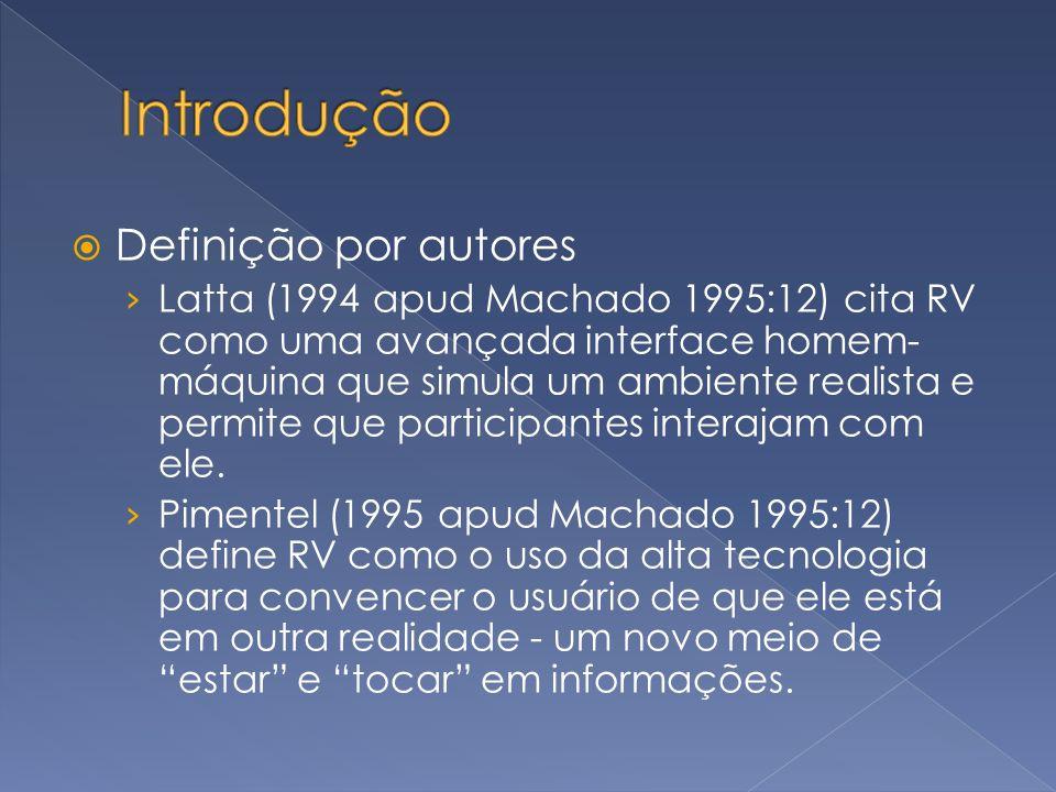 Definição por autores Latta (1994 apud Machado 1995:12) cita RV como uma avançada interface homem- máquina que simula um ambiente realista e permite q