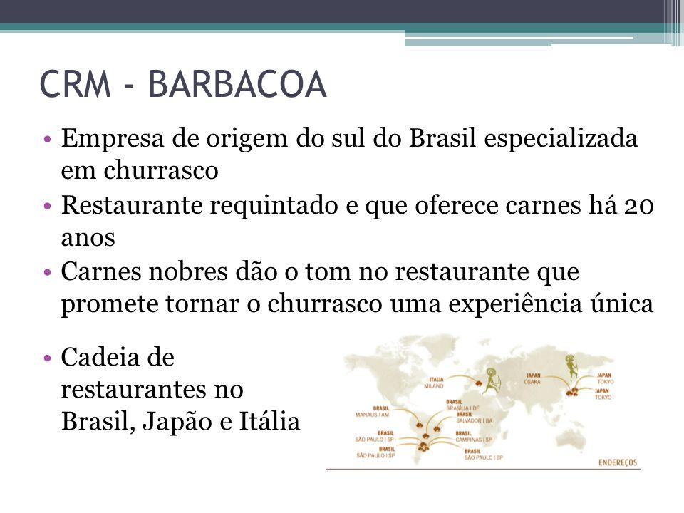 CRM - BARBACOA Cadeia de restaurantes no Brasil, Japão e Itália Empresa de origem do sul do Brasil especializada em churrasco Restaurante requintado e que oferece carnes há 20 anos Carnes nobres dão o tom no restaurante que promete tornar o churrasco uma experiência única