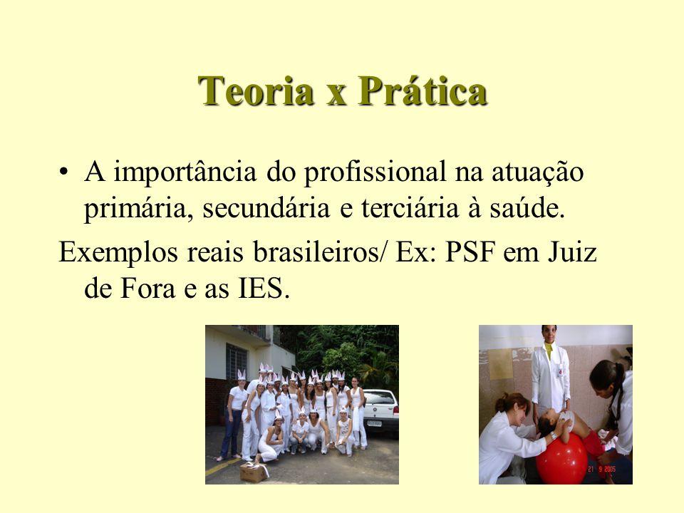 Teoria x Prática A importância do profissional na atuação primária, secundária e terciária à saúde. Exemplos reais brasileiros/ Ex: PSF em Juiz de For