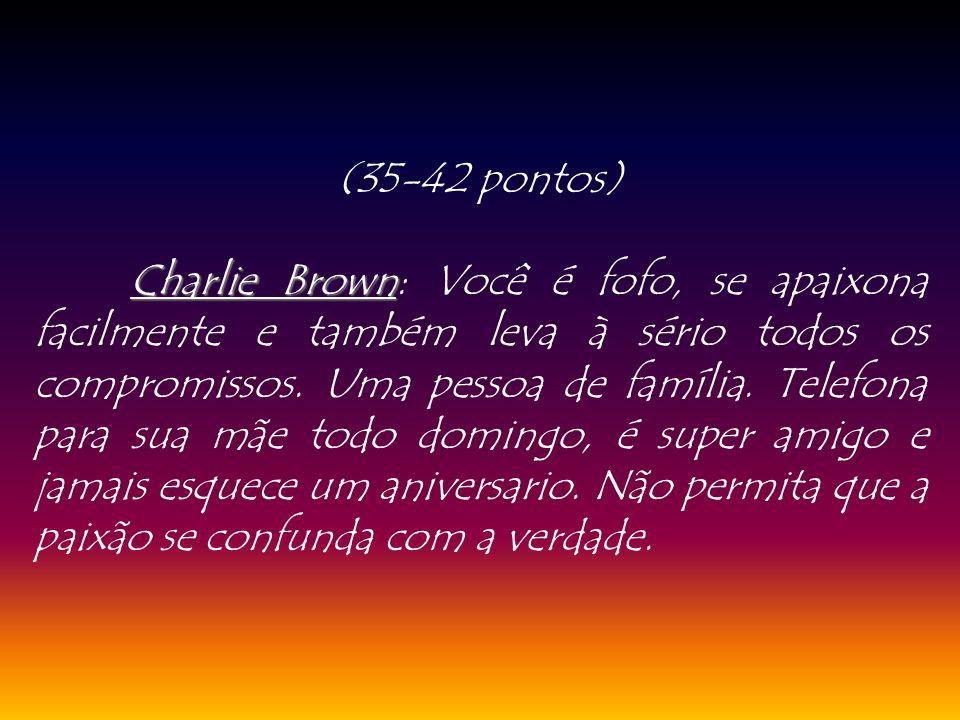 (35-42 pontos) Charlie Brown Charlie Brown: Você é fofo, se apaixona facilmente e também leva à sério todos os compromissos. Uma pessoa de família. Te