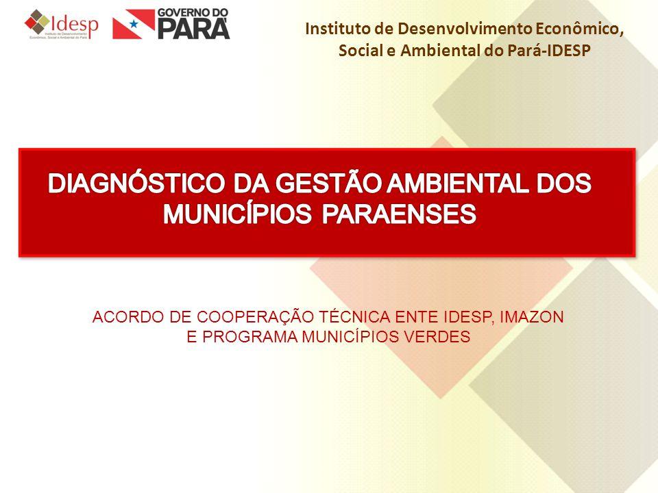 Instituto de Desenvolvimento Econômico, Social e Ambiental do Pará-IDESP ACORDO DE COOPERAÇÃO TÉCNICA ENTE IDESP, IMAZON E PROGRAMA MUNICÍPIOS VERDES