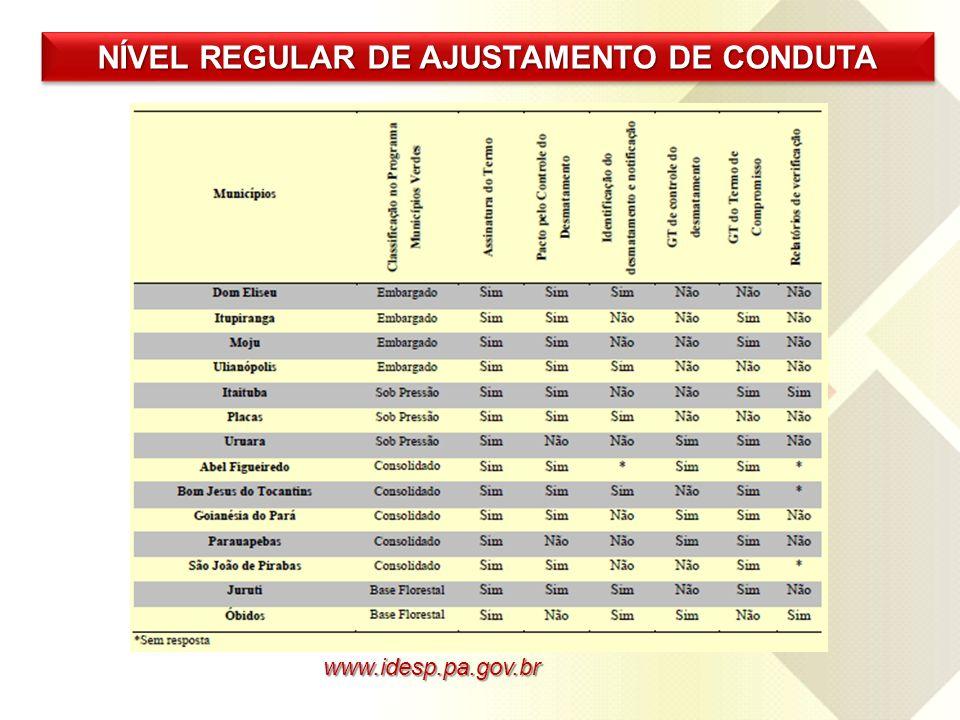 www.idesp.pa.gov.br NÍVEL REGULAR DE AJUSTAMENTO DE CONDUTA