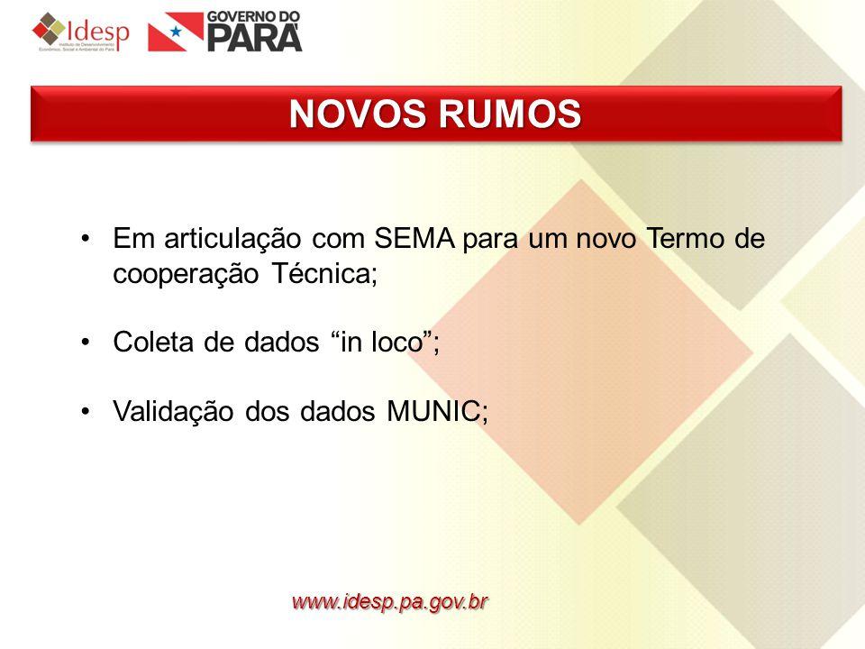 www.idesp.pa.gov.br NOVOS RUMOS Em articulação com SEMA para um novo Termo de cooperação Técnica; Coleta de dados in loco; Validação dos dados MUNIC;