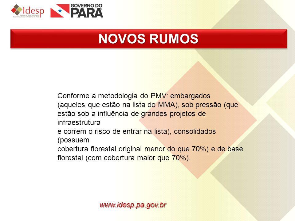 www.idesp.pa.gov.br NOVOS RUMOS Conforme a metodologia do PMV: embargados (aqueles que estão na lista do MMA), sob pressão (que estão sob a influência