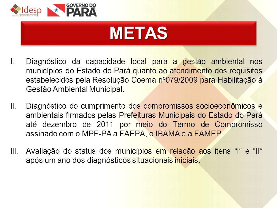 METASMETAS I.Diagnóstico da capacidade local para a gestão ambiental nos municípios do Estado do Pará quanto ao atendimento dos requisitos estabelecid