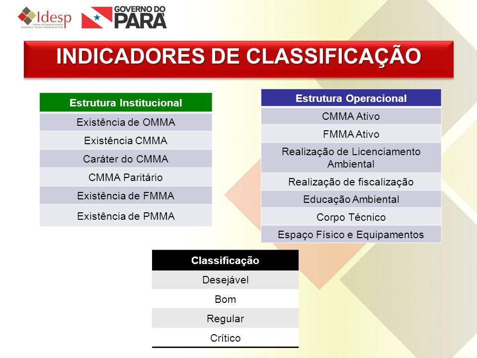 INDICADORES DE CLASSIFICAÇÃO Estrutura Institucional Existência de OMMA Existência CMMA Caráter do CMMA CMMA Paritário Existência de FMMA Existência d