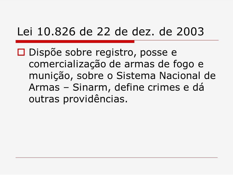 PORTE DE ARMA É proibido o porte de arma de fogo em todo o território nacional, salvo para os casos previstos em legislação própria e para: os integrantes das Forças Armadas; os integrantes de órgãos referidos nos incisos do caput do art.