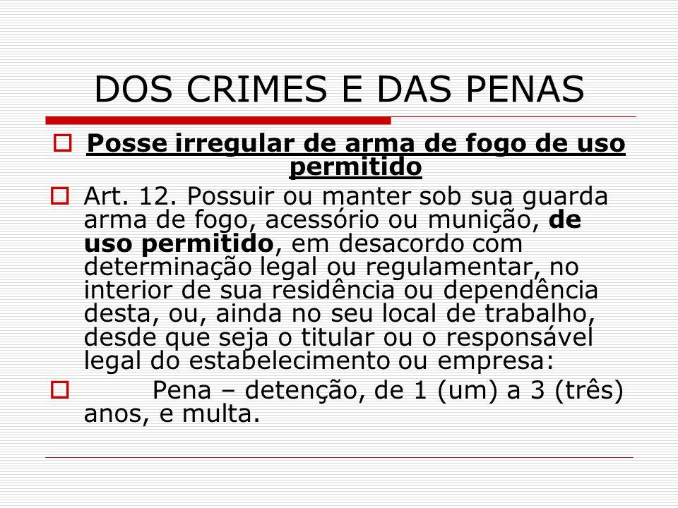 DOS CRIMES E DAS PENAS Posse irregular de arma de fogo de uso permitido Art. 12. Possuir ou manter sob sua guarda arma de fogo, acessório ou munição,