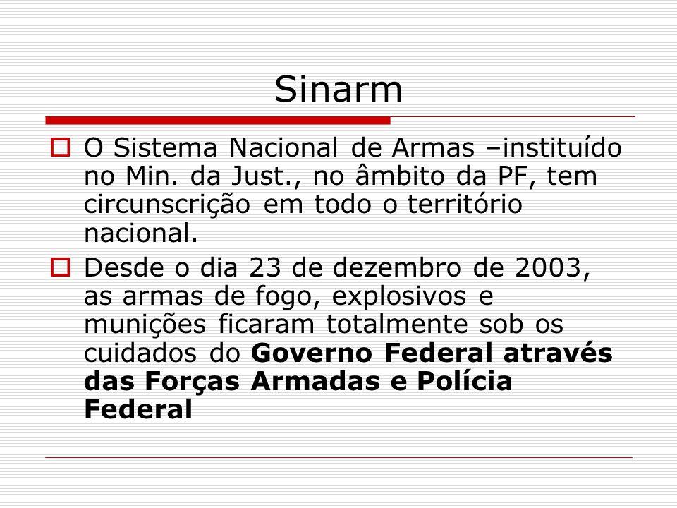 Sinarm O Sistema Nacional de Armas –instituído no Min. da Just., no âmbito da PF, tem circunscrição em todo o território nacional. Desde o dia 23 de d