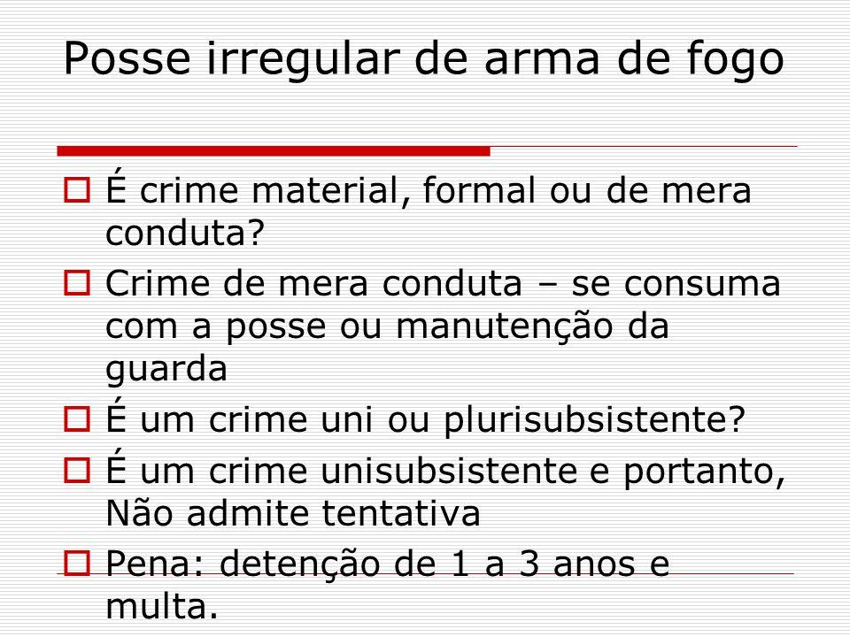 É crime material, formal ou de mera conduta? Crime de mera conduta – se consuma com a posse ou manutenção da guarda É um crime uni ou plurisubsistente