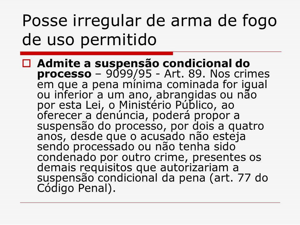 Posse irregular de arma de fogo de uso permitido Admite a suspensão condicional do processo – 9099/95 - Art. 89. Nos crimes em que a pena mínima comin