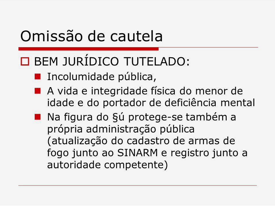 Omissão de cautela BEM JURÍDICO TUTELADO: Incolumidade pública, A vida e integridade física do menor de idade e do portador de deficiência mental Na f
