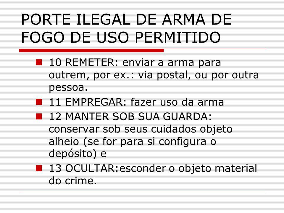 PORTE ILEGAL DE ARMA DE FOGO DE USO PERMITIDO 10 REMETER: enviar a arma para outrem, por ex.: via postal, ou por outra pessoa. 11 EMPREGAR: fazer uso