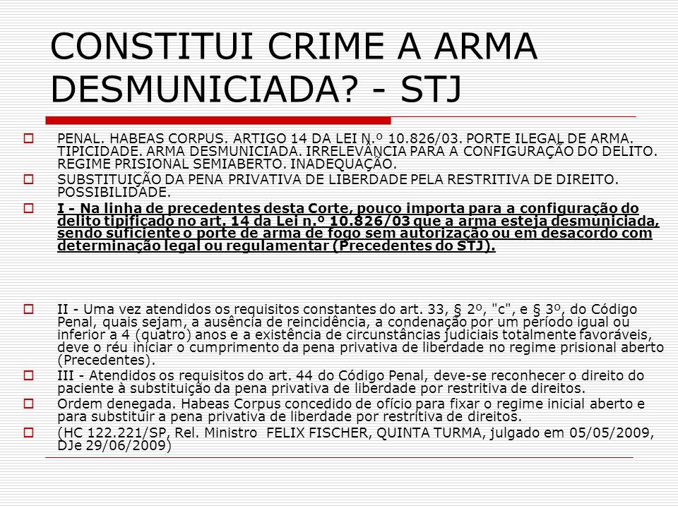 CONSTITUI CRIME A ARMA DESMUNICIADA? - STJ PENAL. HABEAS CORPUS. ARTIGO 14 DA LEI N.º 10.826/03. PORTE ILEGAL DE ARMA. TIPICIDADE. ARMA DESMUNICIADA.
