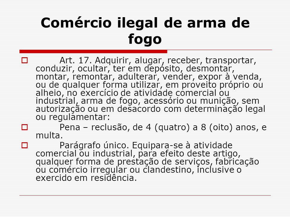 Comércio ilegal de arma de fogo Art. 17. Adquirir, alugar, receber, transportar, conduzir, ocultar, ter em depósito, desmontar, montar, remontar, adul