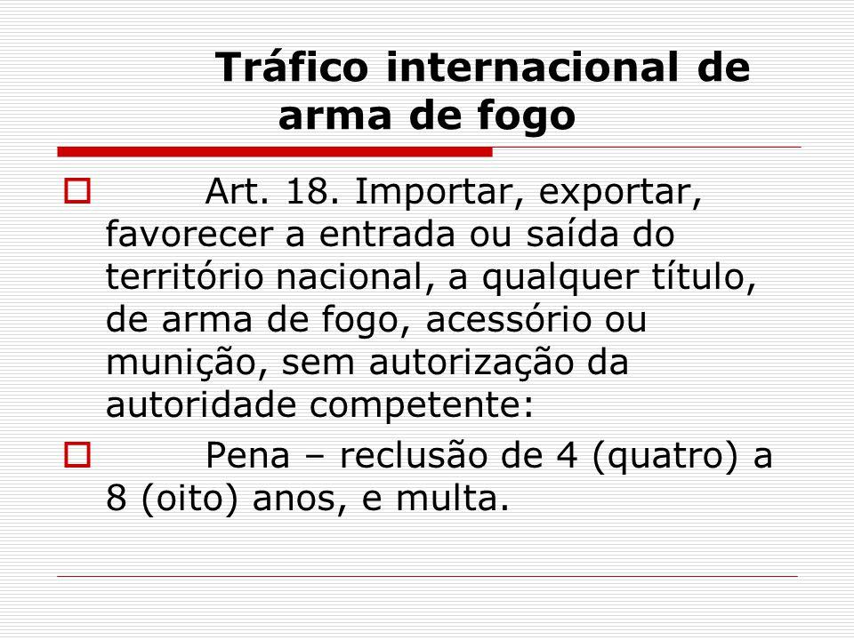 Tráfico internacional de arma de fogo Art. 18. Importar, exportar, favorecer a entrada ou saída do território nacional, a qualquer título, de arma de