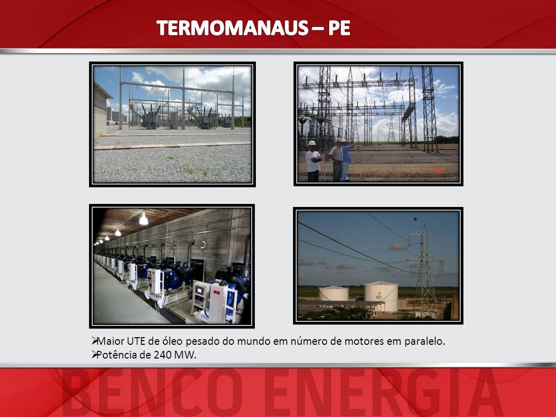 Maior UTE de óleo pesado do mundo em número de motores em paralelo. Potência de 240 MW.