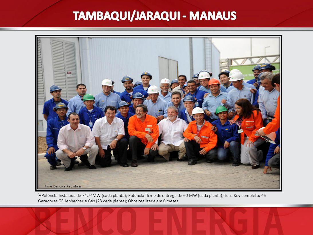 Potência instalada de 74,74MW (cada planta); Potência firme de entrega de 60 MW (cada planta); Turn Key completo; 46 Geradores GE Jenbacher a Gás (23