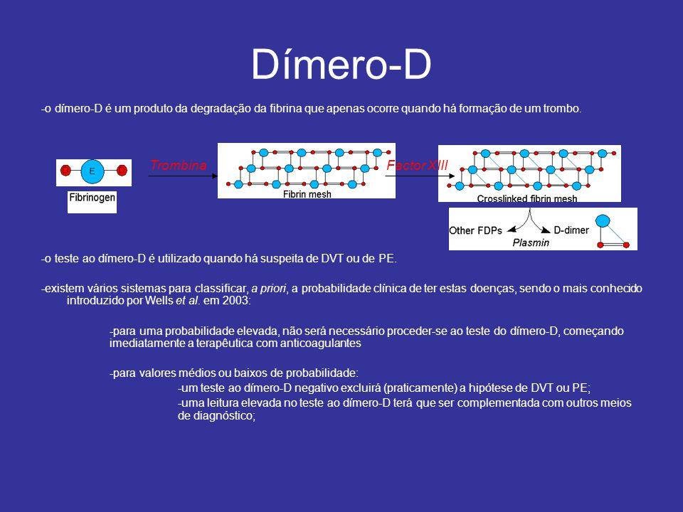 -o dímero-D é um produto da degradação da fibrina que apenas ocorre quando há formação de um trombo.