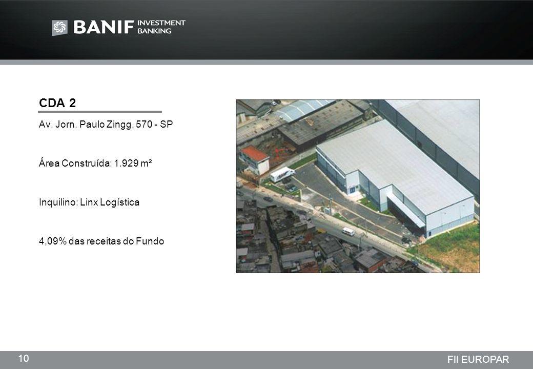 Projetos em andamento da Lindencorp (LCP) Empreendimentos New Company 10 FII EUROPAR CDA 2 Av. Jorn. Paulo Zingg, 570 - SP Área Construída: 1.929 m² I