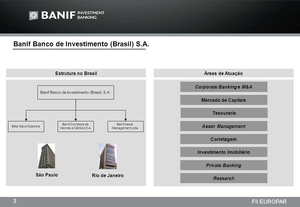Projetos em andamento da Lindencorp (LCP) Empreendimentos New Company 3 FII EUROPAR Áreas de Atuação Banif Banco de Investimento (Brasil) S.A. Rio de