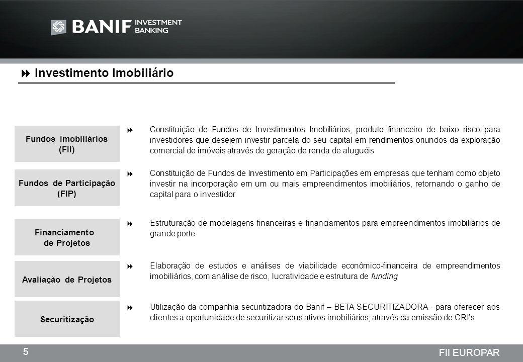 Projetos em andamento da Lindencorp (LCP) Empreendimentos New Company 6 FII EUROPAR Fundo de Investimento Imobiliário EUROPAR Asset Management + Investimentos Imobiliários Banif Banco de Investimento (Brasil) S.A.