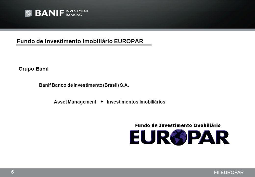 Projetos em andamento da Lindencorp (LCP) Empreendimentos New Company 7 FII EUROPAR Fundo de Investimento Imobiliário EUROPAR Nome de mercado:FII EUROPAR Patrimônio: R$ 35.500.000,00 (Trinta e cinco milhões e quinhentos mil reais) Quantidade de Cotas:355.000 (Trezentos e cinqüenta e cinco mil) Valor Nominal da Cota:R$ 100,00 (Cem reais) Negociação: Bovespa Código Negociação: EURO11