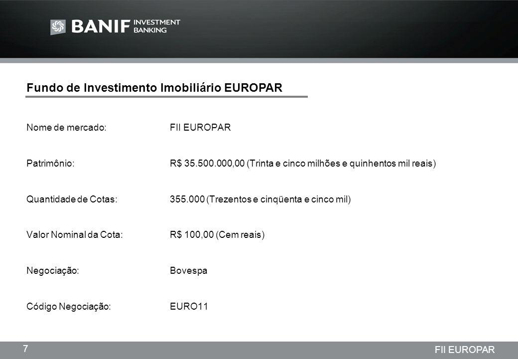 Projetos em andamento da Lindencorp (LCP) Empreendimentos New Company 7 FII EUROPAR Fundo de Investimento Imobiliário EUROPAR Nome de mercado:FII EURO